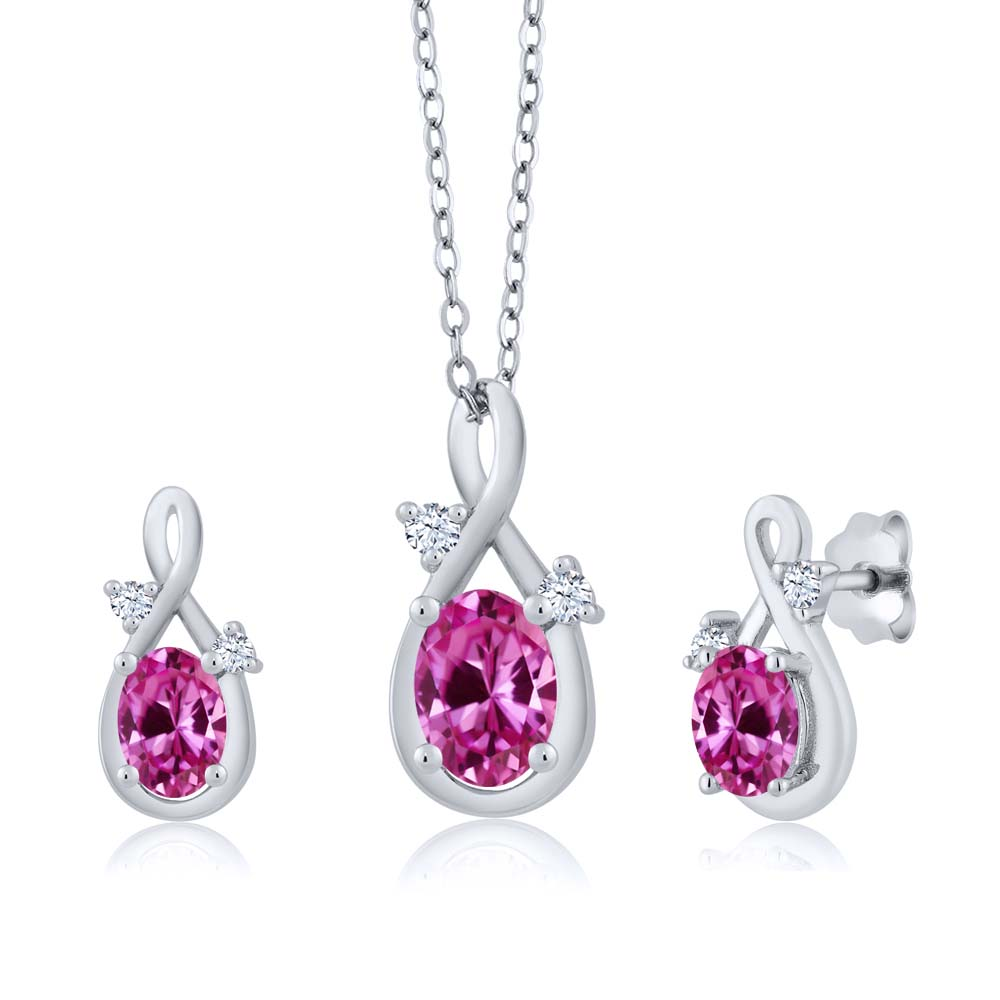 1.99 Ct Oval Pink Created Sapphire 18K White Gold Pendant Earrings Set by