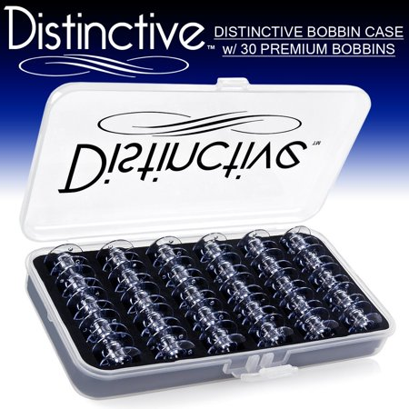 15j Bobbins (Distinctive Premium Bobbin Box Case with 30 Premium Style 15J / SA156 Bobbins Made for Singer + Brother Sewing Machines)