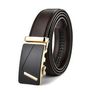 Xhtang Men's Solid Buckle with Automatic Ratchet Leather Belts for Men 35mm Wide 1 3/8""