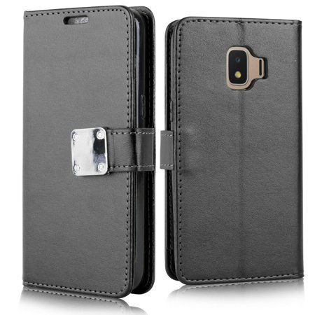"for 5"" Samsung Galaxy J2 Core The 2-in-1 Magnetic Detachable Eagle Deluxe PU Leather Screen Protection Flip Bumper Kickstand with Card Slots Wallet Purse Phone Case Black"
