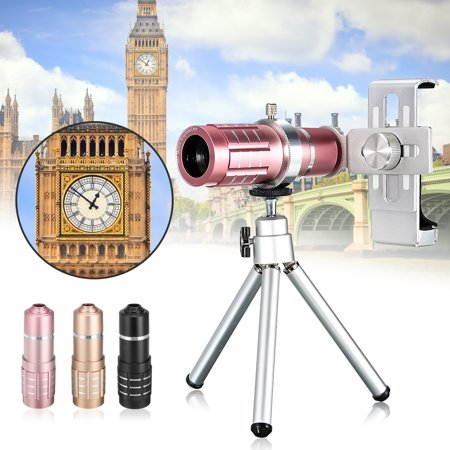 12x Optical Zoom Mobile Cell Phone Telescope Camera Lens Telephoto Tripod Outdoor Camping Accessories Clip on Kit Outdoor Traveling 3 Colors Electric Gold Lens