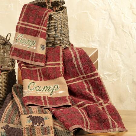 Camp Plaid Cabin Towel Set   3 Pcs   Lodge Bath Accessories