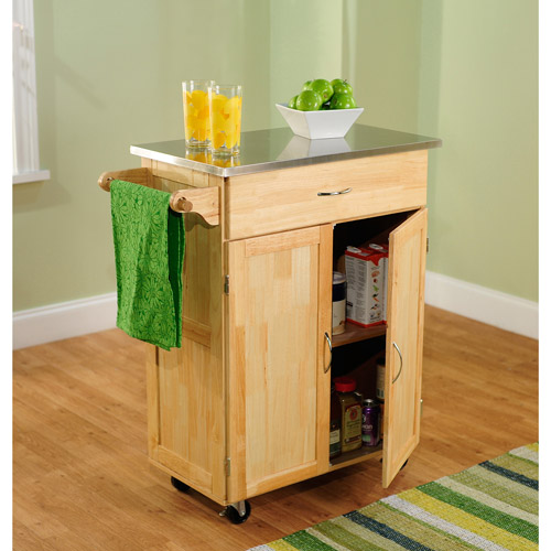 Cocina Kitchen Cart With Stainless Steel Top: Kitchen Cart, Natural With Stainless Steel Top