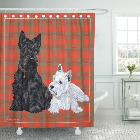 ATABIE Maggie Scottie and Westie Terrier Ross Dogs Scottish Dogthrow Shower Curtain 66x72 inch