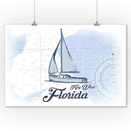 Key West, Florida - Sailboat - Blue - Coastal Icon - Lantern Press Artwork (9x12 Art Print, Wall Decor Travel (Key West Sailboat)
