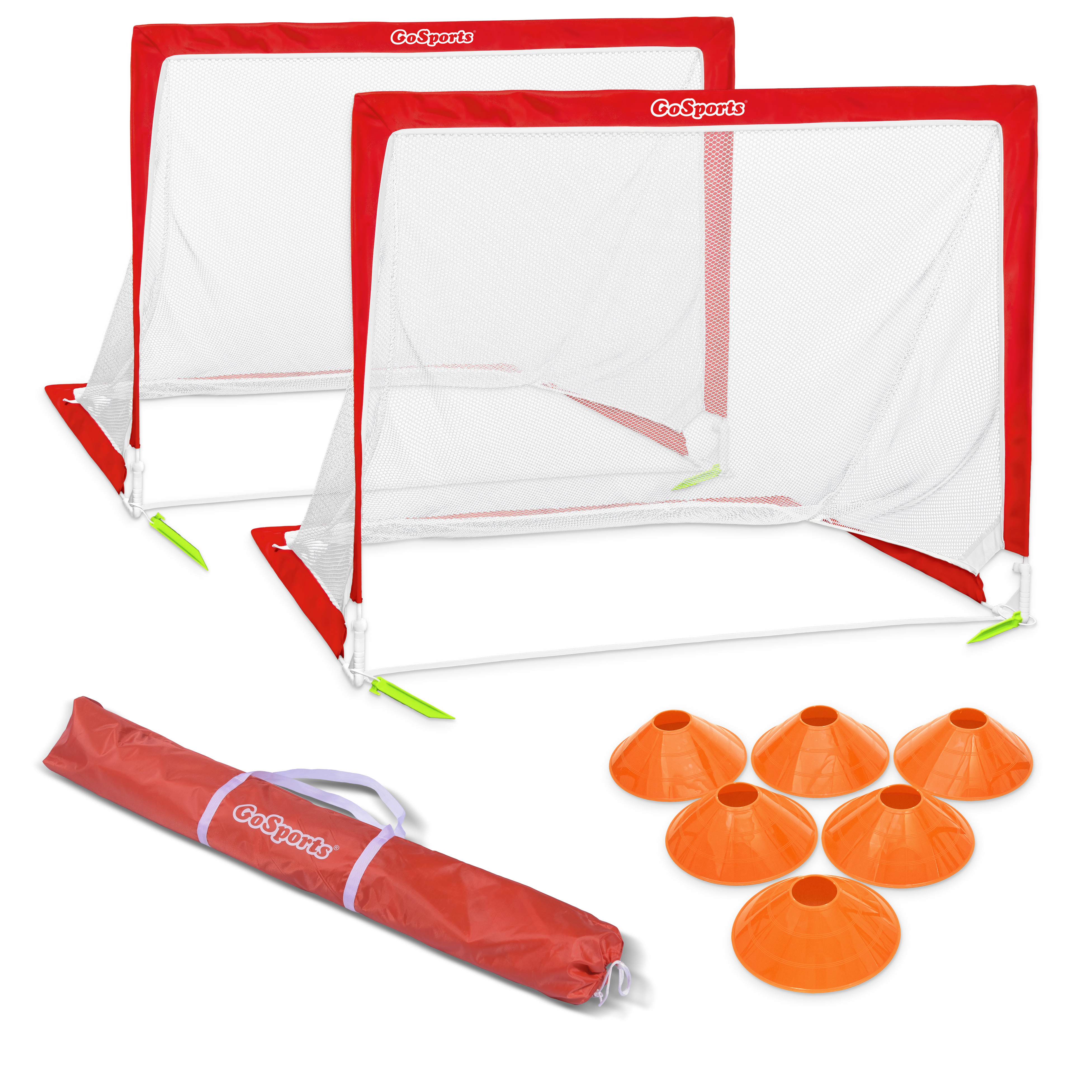 GoSports 6' Size Portable Goal Set - Includes 2 6' Goals; 6 Cones & Carrying Case; Soccer; Regulation