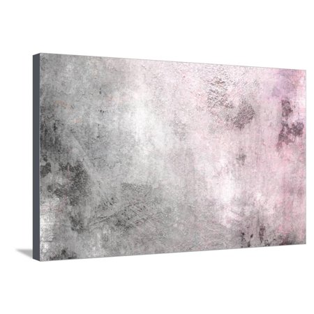 Grey Pink Gradient - Vintage Background Texture Stretched Canvas Print Wall Art By one AND only