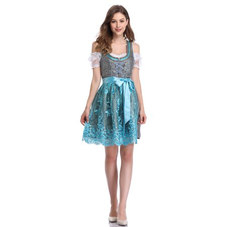 Women's German Dirndl Dress 3 Pieces Traditional Bavarian Oktoberfest Costumes for Halloween Carnival - Simple Carnival Costumes