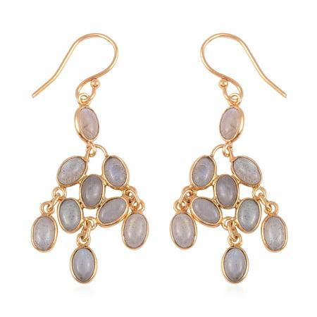 Dangle Drop Earrings 925 Sterling Silver Vermeil Yellow Gold Oval Labradorite Gift Jewelry for Women