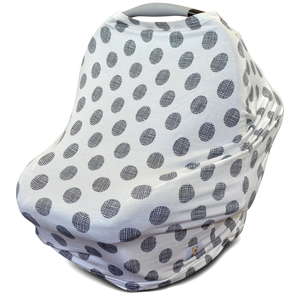 Kids N' Such Multi Use Car Seat Canopy, Nursing Cover, Shopping Cart Cover, and Breastfeeding Scarf- Black and White Polka Dot Carseat Canopy Cover for Baby Girls and Boys