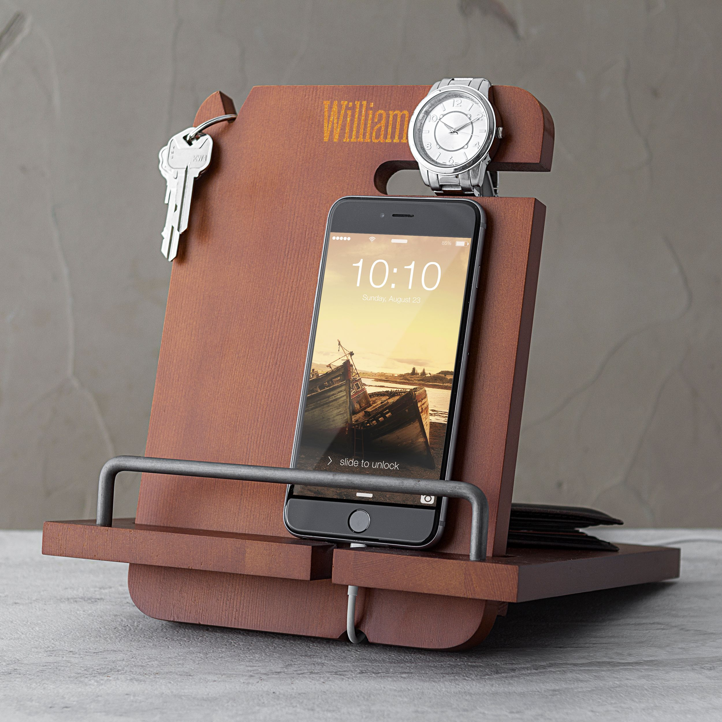 Personalized Wooden Docking Tech Station