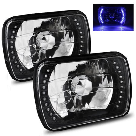 1988-1999 Chevy C1500 k1500 k2500 C2500 k3500 7x6 H6052/H6054 Semi-Sealed Beam Black Diamond Blue LED  Headlights 1995 Gmc K1500 Headlight