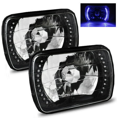 1988-1999 Chevy C1500 k1500 k2500 C2500 k3500 7x6 H6052/H6054 Semi-Sealed Beam Black Diamond Blue LED  Headlights