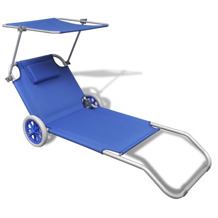 Folding Sun Lounger with Canopy and Wheels Aluminium Blue ()