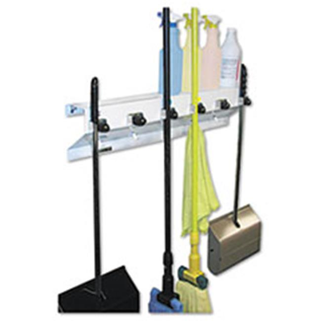 Ex-Cell 3336WHT2 The Clincher Mop & Broom Holder, 34 inch W x 5. 5 inch D x 7. 5 inch H, White Gloss, Each
