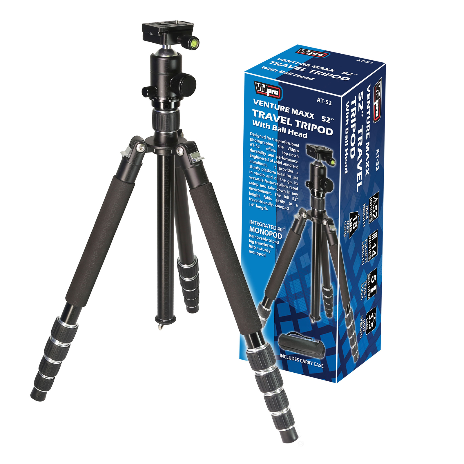 "Vidpro AT-52 Venture Maxx 52"" Professional Aluminum Travel Tripod with Ball Head & Case"