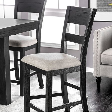 Transitional Counter Height Chair, Black Finish, Set Of 2