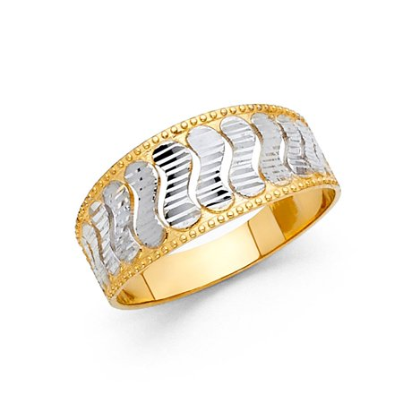 14k Two Tone Italian Solid Gold 9mm Band Wave Shape Patterns Ring Size 5.5 Available All Sizes