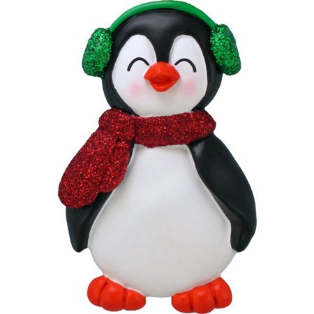 (Penguin with Male Name Owen Personalized Christmas Tree Ornament)