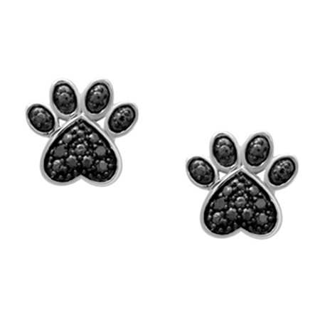 Black Natural Diamond Accent Paw Print Stud Earrings In 14k White Gold Over Sterling Silver ()