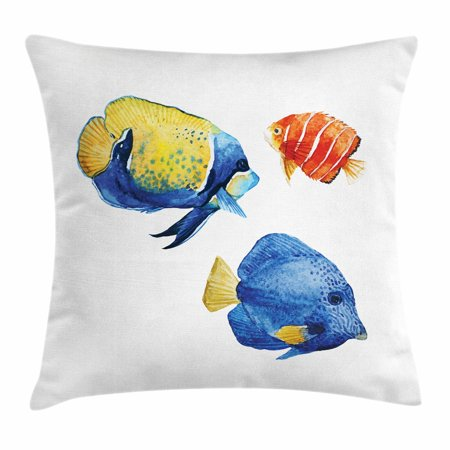 Fish Throw Pillow Cushion Cover, Tropical Aquarium Life Discus Fish and Goldfish in Different Patterns, Decorative Square Accent Pillow Case, 18 X 18 Inches, Azure Blue Yellow Scarlet, by Ambesonne