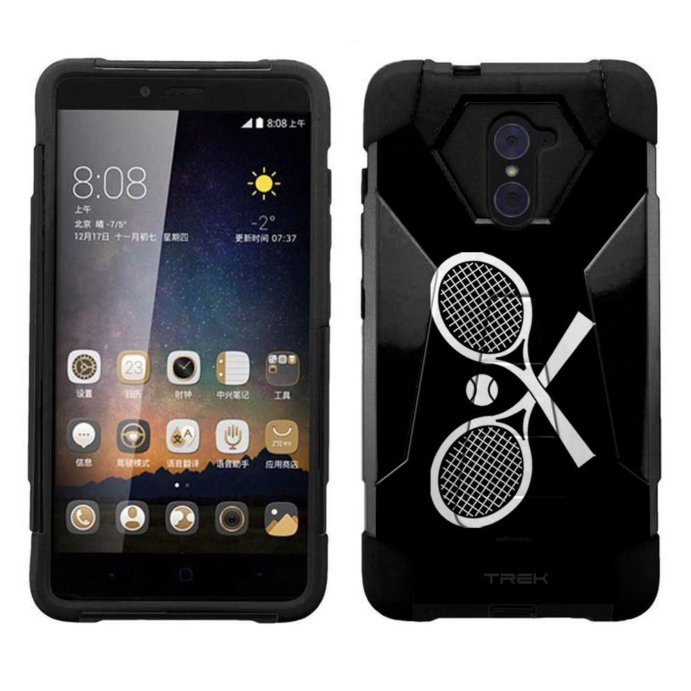 ZTE Grand X Max 2 Hybrid Stand Case - Silhouette Cross Tennis Racquets on Black