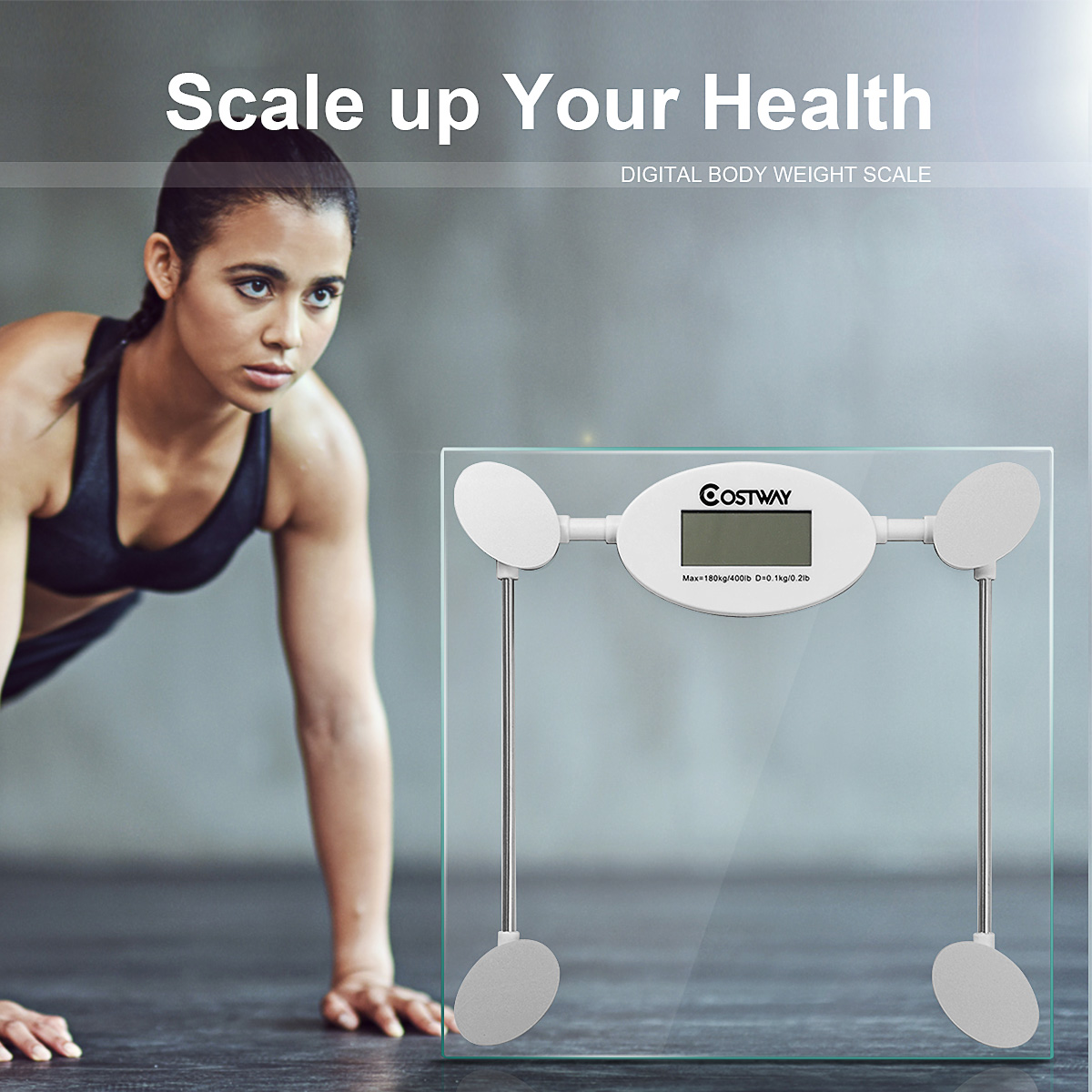 Costway 180kg/396lb Round Digital Personal Bathroom Body Weight Heath Fitness LCD Scale