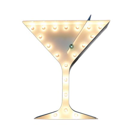 Trekdecor Iconics Martini Glass With Olive Steel Marquee Light Wall