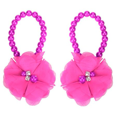 Outtop 1Pair Infant Pearl Chiffon Barefoot Toddler Foot Flower Beach Sandals