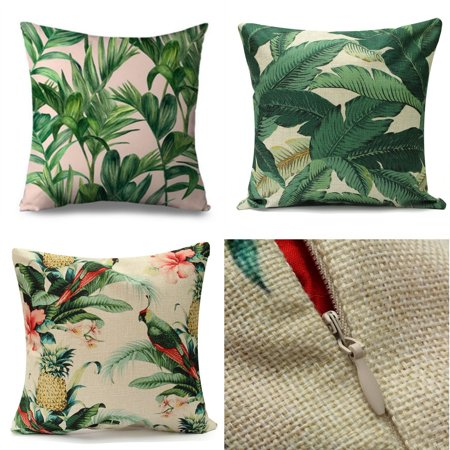 Meigar Tropical Banana Green Leaves Couch Cushion Pillow Covers 18x18 Square Zippered Cotton Linen Standard Decorative Throw Pillow Covers Slip Case Protector for Chair Seat Sofa ()