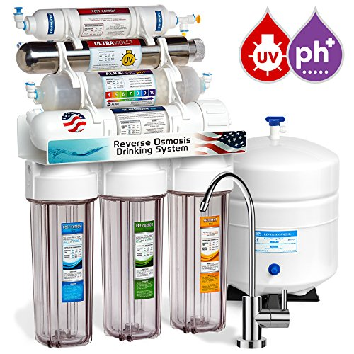 Express Water 11 Stage UV Ultraviolet Alkaline Reverse Osmosis Home Drinking Water Filtration System 100 GPD Modern Faucet Clear Housing