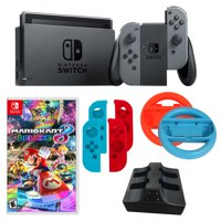 Nintendo Switch in Gray with Mario Kart Game and Accessories