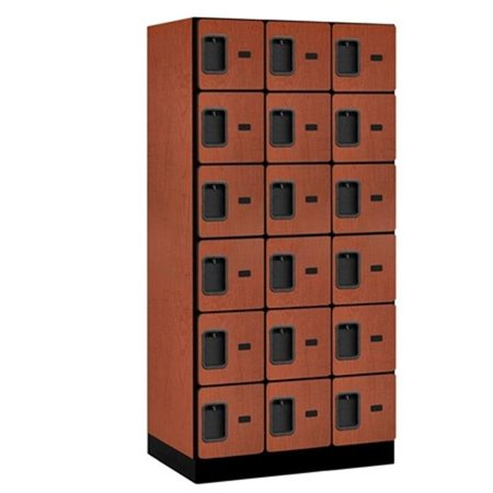 Salsbury 36361CHE Salsbury Designer Wood Locker Six Tier Box Style - 3 Wide - 6 Feet High - 21 Inches Deep - Cherry