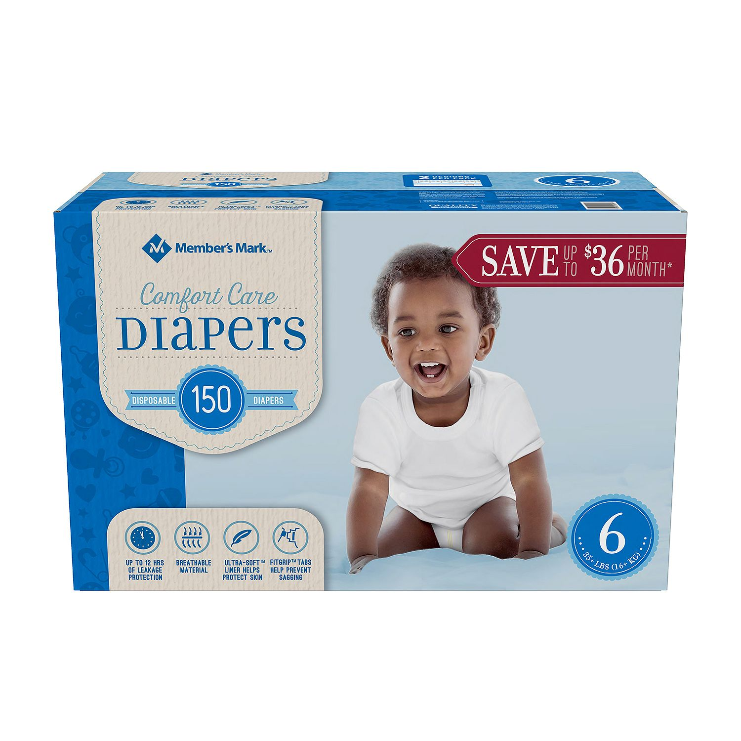 Member's Mark Comfort Care Baby Diapers Size 6 - 150 ct. ( Weight 35+ lbs.) - Bulk Qty, Free Shipping - Comfortable, Soft, No leaking & Good nite Diapers
