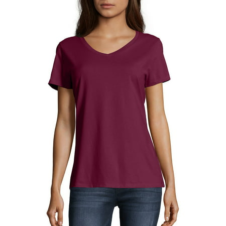 5128873194 Hanes - Women's Lightweight Short Sleeve V-neck T Shirt - Walmart.com