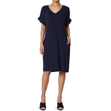 Women's S 3X Jersey Cuffed Short Sleeve V-Neck Boxy Pocket T-Shirt Dress
