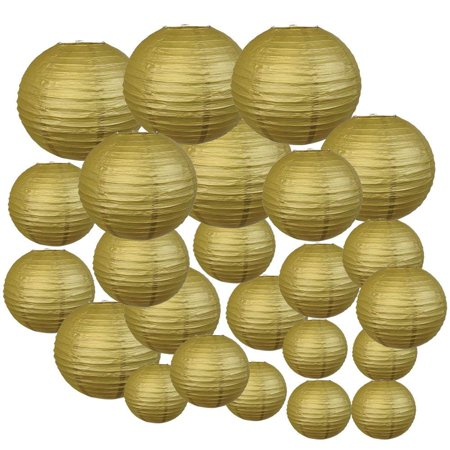 Gold Decorative Round Chinese Paper Lanterns, 24ct, Assorted Sizes](Homemade Paper Lanterns Halloween)