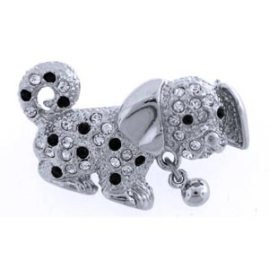 Platinum-Plated Swarovski Crystal Puppy Dog Brooch Pin (1 2 x 3 4) Gift Boxed by