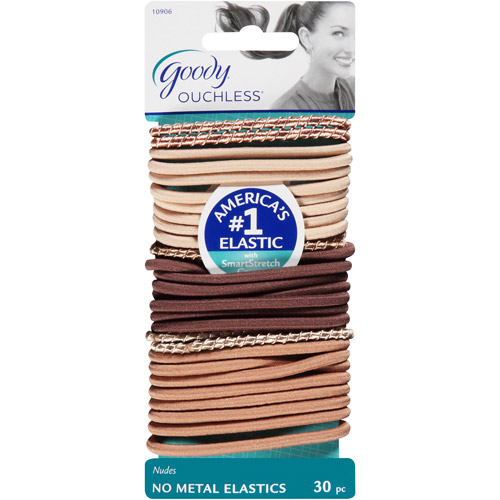 Goody Ouchless No Metal Elastics, Nudes, 30 count