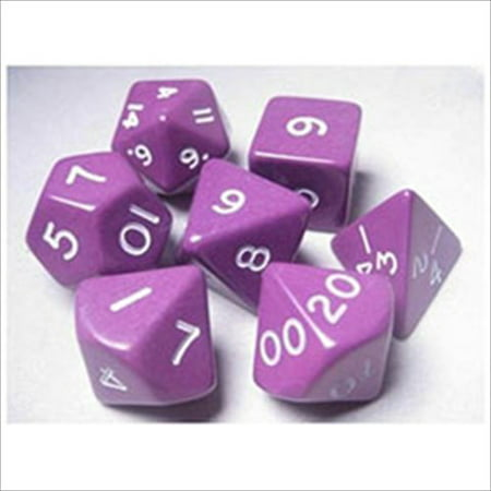 Jumbo RPG Dice Sets: Purple/White Opaque Polyhedral 7-Die Set Multi-Colored