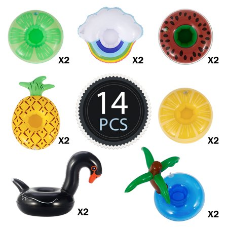 14Pcs/Set Pool Bath Floating Inflatable Drinks Cup Holder Toy for Children](Inflatable Flamingo Drink Holder)