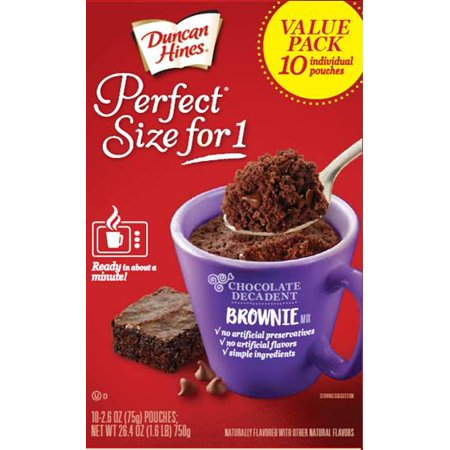 Duncan Hines Perfect Size for 1 Chocolate Decadent Brownie Mix Multipack 10