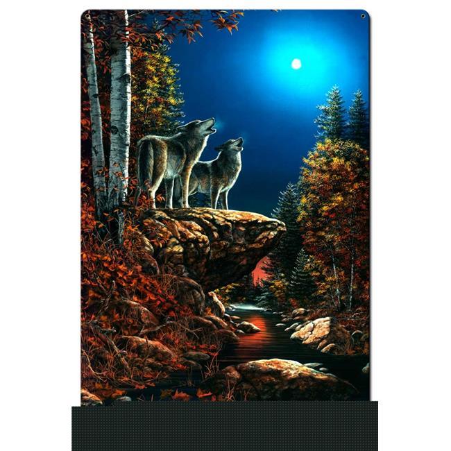 Jim Hansel JH115 24 x 36 in. Wolf Duet Satin Metal Sign - image 1 of 1