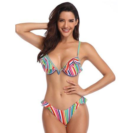 Juniors' Swimsuit Celebrity Hot Summer Padded Plunging Neck Colorful Stripes Bikini (multicolor, small) (Small Padded Bikini)