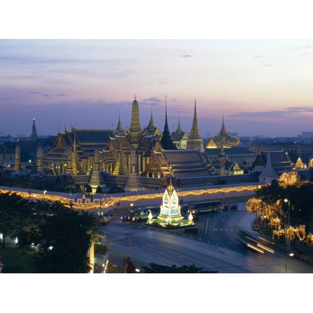 Wat Phra Kaew, the Temple of the Emerald Buddha, and the Grand Palace at Dusk in Bangkok, Thailand Print Wall Art By Gavin
