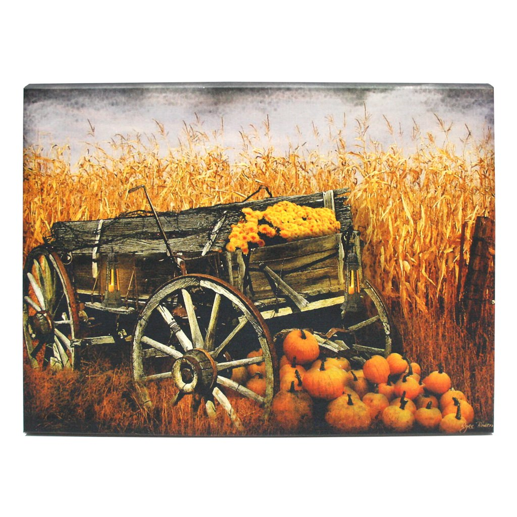 "Ohio Wholesale 39021 - 20"" x 14"" x 3/4"" - ""Harvest Wagon"" Battery Operated LED Lighted Canvas (Batteries Not Included)"