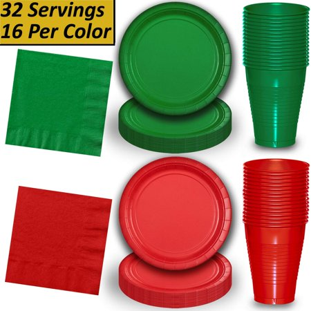 Christmas Paper Plates And Napkins.Red And Green Dinnerware Pack 32 Sets Large Paper Plates 9 Plastic Cups 12 Oz Lunch Napkins For Christmas And Holiday Parties