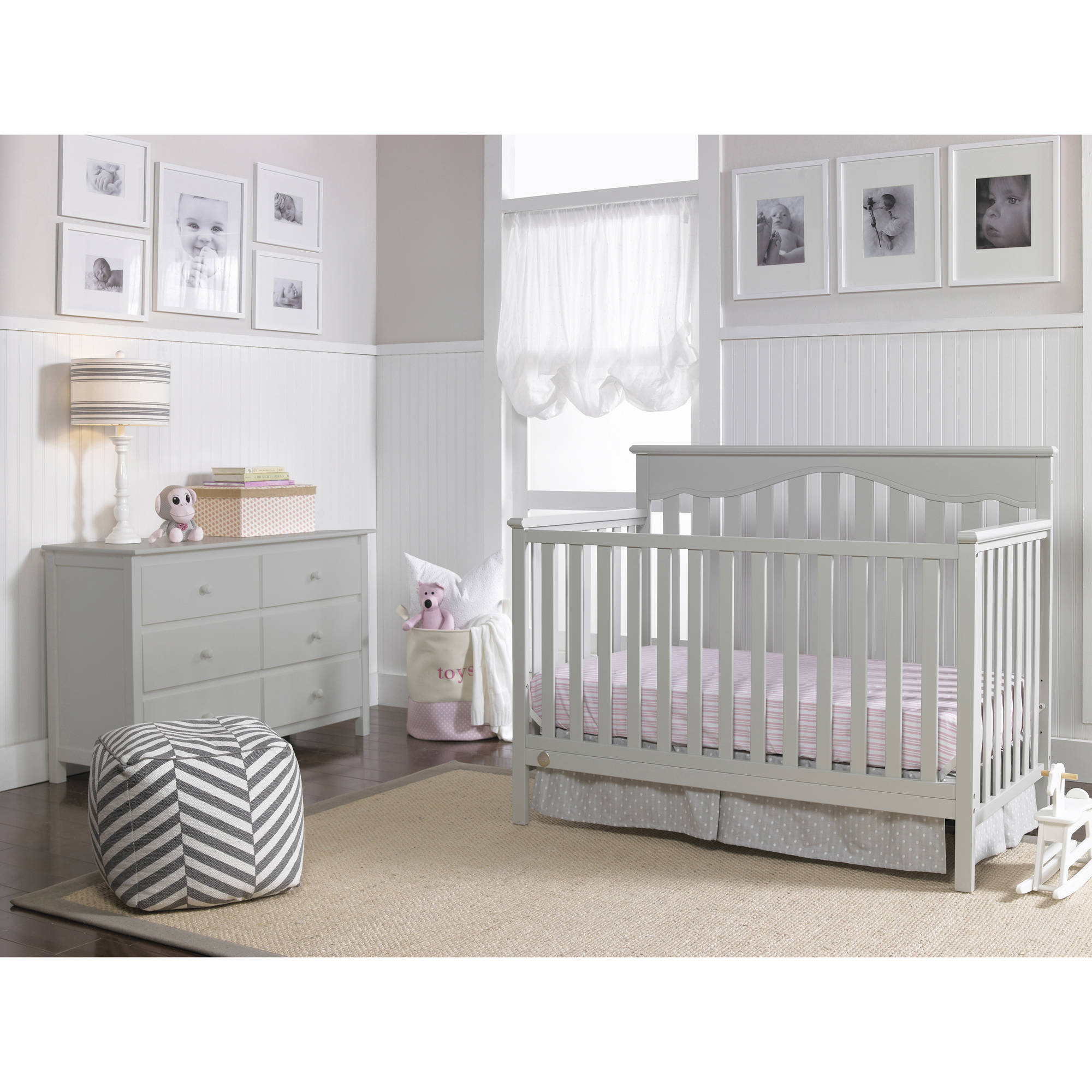 fisherprice caitlin in convertible crib misty gray  walmartcom -