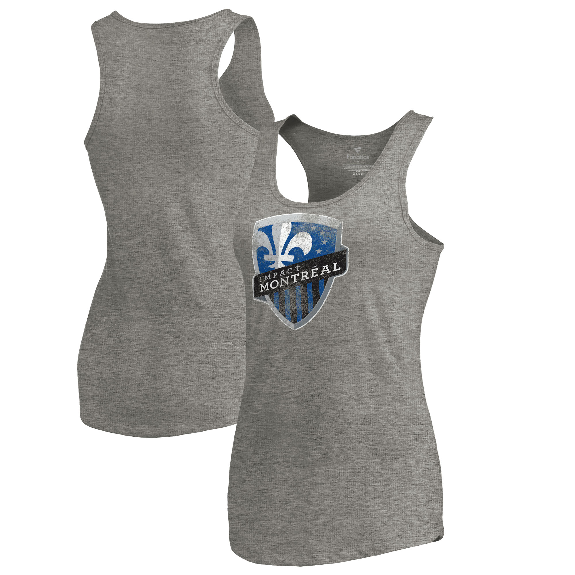 Montreal Impact Fanatics Branded Women's Distressed Primary Logo Tri-Blend Tank Top - Heathered Gray