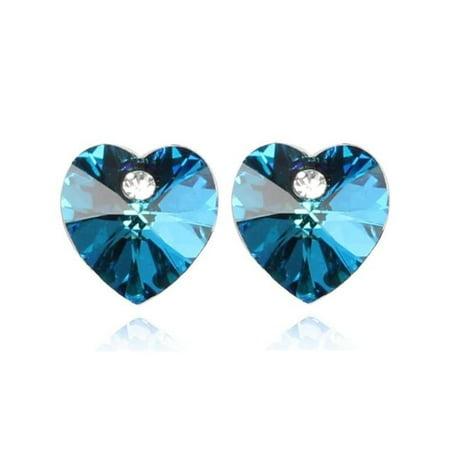 Aqua Quartz Earrings - Aquamarine Austrian Crystal Heart Stud Earrings Aqua